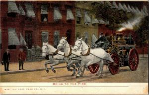 Going to the Fire, Fire Wagon Firemen Undivided Back Vintage Postcard O21