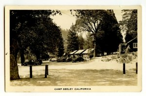 Camp Seeley California Vintage Real Photo Postcard Standard View Card Old Cars