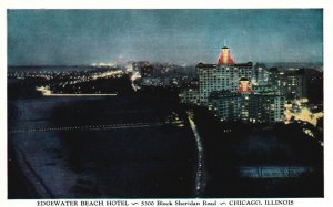 Chicago, Illinois, IL, Edgewater Beach Hotel at Night, Vintage Postcard g8341