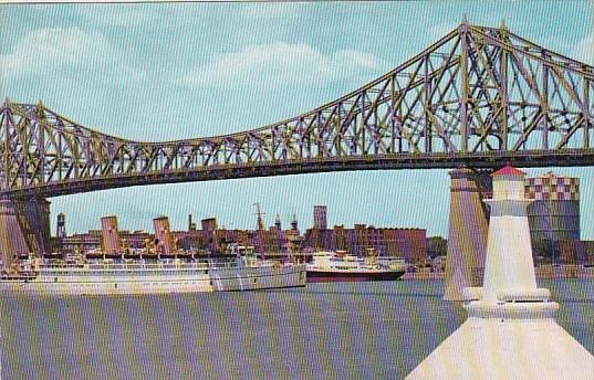 Canadian Pacific Ocean Liner Empress Of Scotland Under Jacques Cartier Bridge...