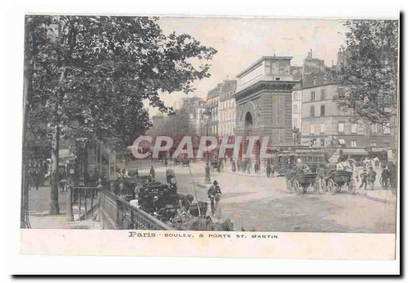 Paris (10th) Vintage Postcard Boulevard and carries St Martin