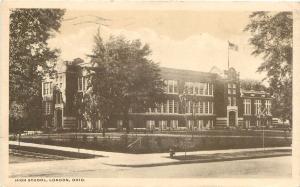 LONDON OHIO HIGH SCHOOL WALTER BRYAN PUBLISHED POSTCARD c1917