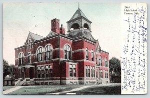 Fremont Nebraska~High School~Corner View~Houses Behind~1908 Postcard