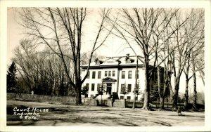Vtg Postcard RPPC 1940s - Lamoille County Court House - Hyde Park VT - Unused