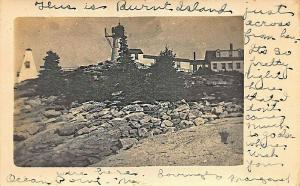 Southport ME Burnt Island Lighthouse Real Photo Postcard