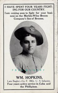 1908 Merkle-Wiley Broom Advertising PC: Salesman William Hopkins, Pic & Bio!