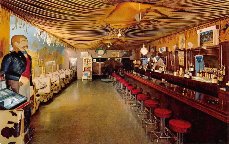 Deadwood SD Arcade Pinball Bowling Machine @ Buffalo Bar~Juke Box~Postcard 1950s