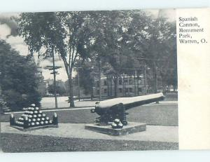 Pre-1907 SPANISH MILITARY CANNON AT MONUMENT PARK Warren Ohio OH H4151