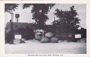 South Dakota Mobridge Milwaukee Park With Cannon Balls Real Photo RPPC