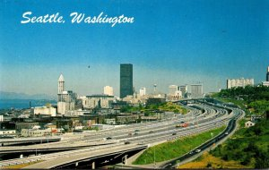 Washington Seattle Downtown Approaching From South On Interstate 5