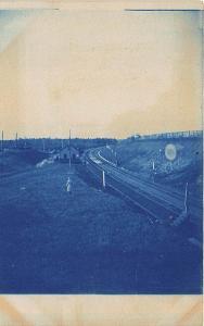 Pittsfield ME Railroad Station Train Depot Cyanotype Type RPPC Postcard