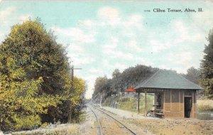 Alton Illinois Clifton Terrace Train Station Vintage Postcard AA4245