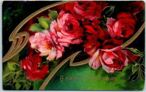 Vintage HAPPY BIRTHDAY Postcard Colorful Card w/ Pink & Red Roses - 1909 Cancel