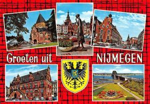 Netherlands GRoeten uit Nijmegen multiviews Town Hall Statue Auto Cars Bridge