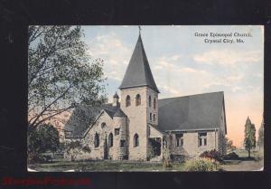 CRYSTAL CITY MISSOURI GRACE EPISCOPAL CHURCH ANTIQUE VINTAGE POSTCARD MO.