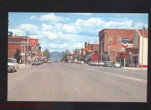 DEER LODGE MONTANA DOWNTOWN MAIN STREET SCENE 1950's CARS VINTAGE POSTCARD