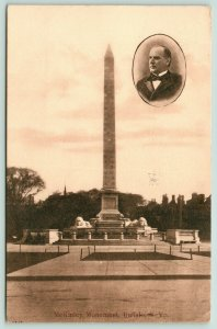 Buffalo New York~McKinley Monument~McKinley Portrait on Side~1909 Postcard