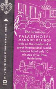 GERMANY HEIDELBERG PALASTHOTEL MANNHEIMER HOF HOTEL VINATGE LUGGAGE LABEL