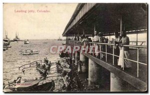 Old Postcard Landing Jetty Colombo Sri Lanka Ceylon