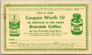 Vintage Mail Order Advertising Postcard BRIARDALE COFFEE / 15-Cent Coupon