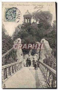 Postcard Old Paris Buttes Chaumont Suspension Bridge