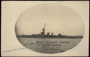 Germany WWI  RPPC Of Captured English Destroyer Curlew at Kiel 65950