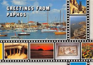 Cyprus Paphos multiviews Harbour Yachthafen Port General view Sunset