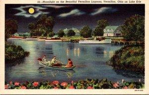 Ohio Vermillion Moonlight On Lake Erie 1945 Curteich