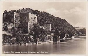 RP, Blick Von Der Eisernen Hangebrucke Auf Niederhaus, Passau (Bavaria), Germ...