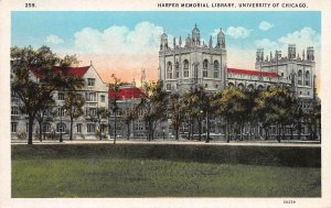 Harper Memorial Library, University of Chicago, Illinois, Early Postcard, Unused
