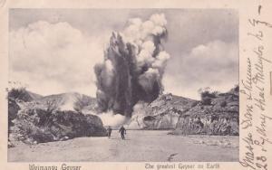 Waimangu Geyser Eruption New Zealand Volcano Old Postcard