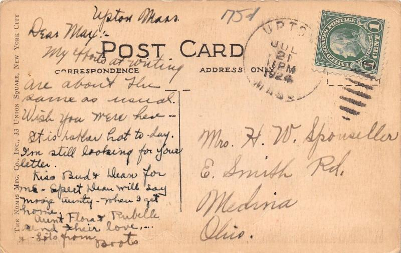 West Upton Massachusetts~School House~1924 Blue Sky Handcolored Postcard