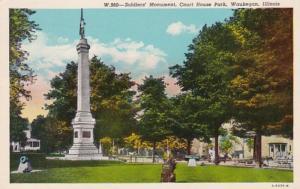 Illinois Waukegan Soldiers'Monument Court House Park 1958 Curteich