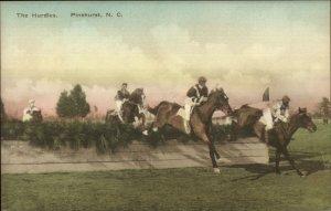 Pinehurst NC Horses Jumping Hurdles c1920 Hand Colored Postcard