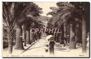 Menton Old Postcard A Palms allee