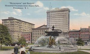 Skyscrapers and Banjotti Memorial Fountain from Depot Park,  Providence,  R...