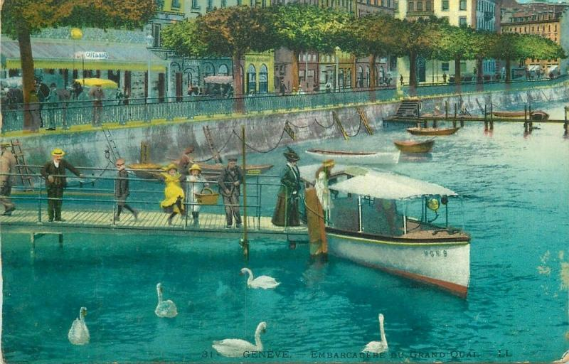 Switzerland Geneva pier of the large wharf boat 1920 postcard