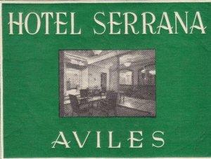 Spain Aviles Hotel Serrana Vintage Luggage Label sk2411