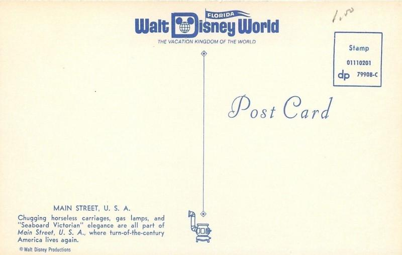 Orlando Florida~Walt Disney World~Main Street~1970s Postcard
