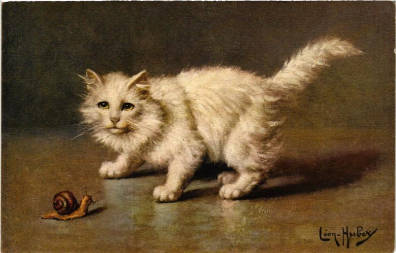 CPA AK CATS White cat and a snail (a2105)