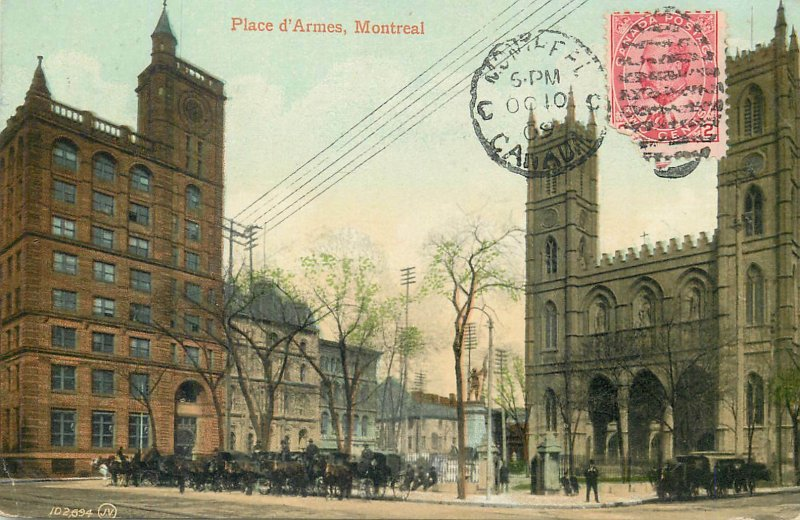 Postcard Canada place armes montreal architecture towers street view clock