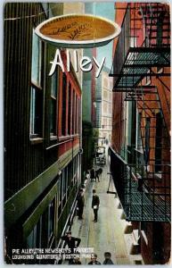 Boston MA Postcard PIE ALLEY Newsboys' Favorite Lounging Quarters 1908 Cancel