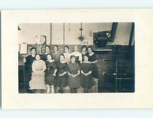 Pre-1920's rppc suffrage WOMEN WORK IN FACTORY WITH SCALE AND BELT MOTOR HM0642