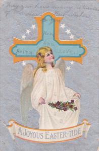 A Joyous Easter-tide, angel, flowers, Cross with stars, silver detail, 00-10s