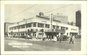Detroit MI Greyhound Bus Terminal Station 1940s Real Photo Postcard