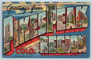 Postcard CO Large Letter Greetings From Pikes Peak Region Vintage Linen O10