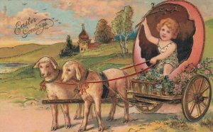 PFB #5837, EASTER, PU-1907; Girl in egg shell carriage pulled by sheep
