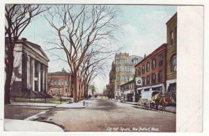 P774 old card city hall square horse and wagon etc, new bedford mass