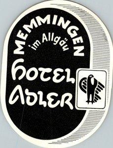 Germany Memmingen im Allgau Hotel Adler Vintage Luggage Label sk4710