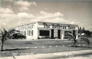 1940s Hallandale Florida Hofbrau Haus Restaurant autos RPPC real photo 12249